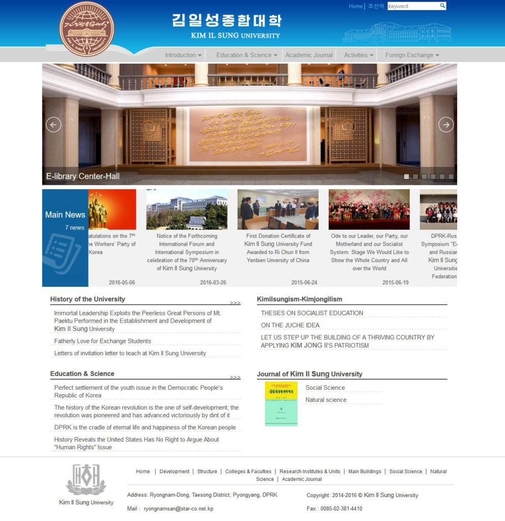 "Strona uniwersytetu ""Kim Il Sung University"":"
