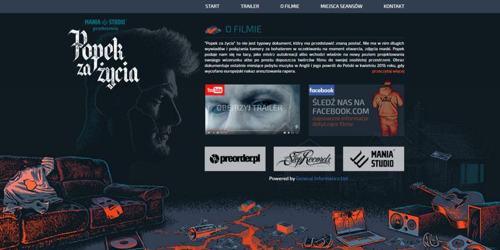 Screen strony internetowej popek za życia