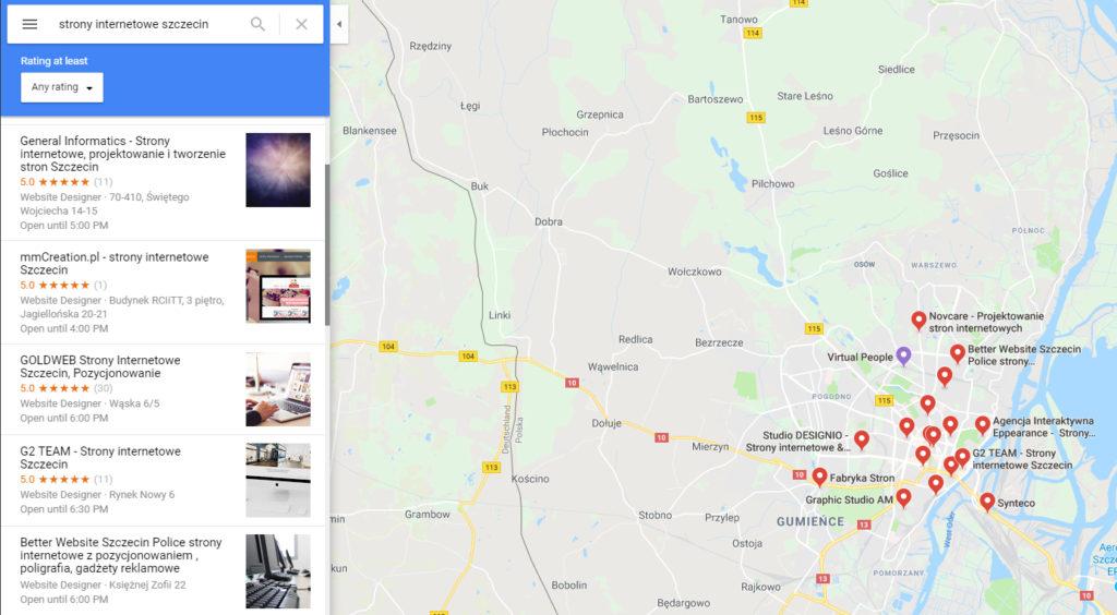 Strony internetowe Szczecin - Google Maps